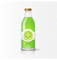 fresh lime juice in bottle with juice label vector image vector image