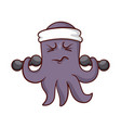 funny purple octopus with headband on head doing vector image vector image