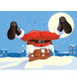 funny santa claus stuck in the chimney cartoon vector image