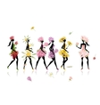 Girls dressed in floral costumes hen party for vector image vector image
