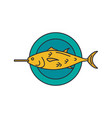 grilled fish icon cartoon style vector image vector image