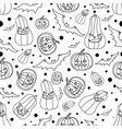 halloween seamless background with batspumpkin vector image vector image