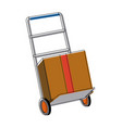 hand cart shipping box delivery service vector image vector image