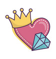 heart diamond crown icon on white background vector image vector image