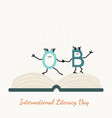 international literacy day with letter characters vector image vector image