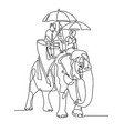 line drawing - people under umbrellas from sun vector image vector image