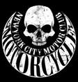 motorcycle skull tee graphic design vector image vector image