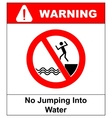 No jumping into water vector image