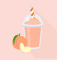 peach smoothie in plastic glass vector image vector image