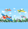 people flying plane over mountain vector image vector image