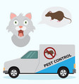 pest control service car with mouse sign and cats vector image