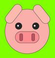 pig head in cartoon flat style vector image vector image