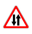 road sign warning two way traffic on white vector image vector image