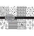 set eight seamless hand drawn christmas vector image