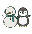 snowman with scarf and penguin celebration merry vector image vector image