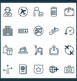 transportation icons set with flight time vector image