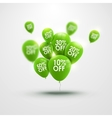 trendy beautiful background with green balloons