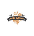 wine tasting badge winery logo template drink vector image vector image