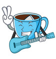with guitar tea cup mascot cartoon vector image vector image