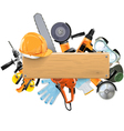 wooden board with tools vector image vector image