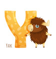 y letter and cute yak baby animal zoo alphabet