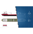 blueprint of cargo ship top side and front vector image