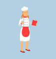 female chef cook character in uniform standing and vector image
