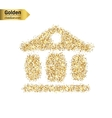 Gold glitter icon of exchange building vector image