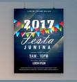 2017 festa junina flyer design template vector image