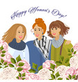 8 march three womens with garden roses vector image
