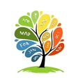 Art tree design with 12 petal months of year vector image vector image