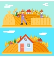 Autumn hay peasant harvestman harvest Icon Village vector image vector image