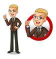 blonde businessman inside the circle logo concept vector image
