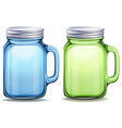 Blue and green jars with aluminum lids vector image vector image