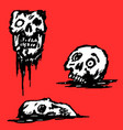 broken skull set vector image vector image