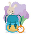 camping cute rabbit rucksack and compass leaves vector image