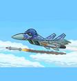 cartoon fighter fires a rocket vector image vector image
