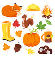 cartoon style set of autumn symbols fox pumpkin vector image