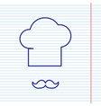 chef hat and moustache sign navy line vector image vector image