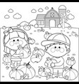 children at the pumpkin field and farmhouse vector image
