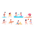children on beach summer holiday kids playing vector image vector image