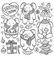 christmas doodle set with elephants vector image