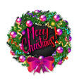 christmas wreath and happy new year 2019 vector image vector image