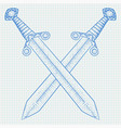 crossed swords hand drawn white sketch on lined vector image
