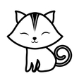 cute cat closed eyes spiral tail outline vector image vector image