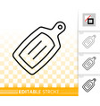 cutting board simple black line icon vector image vector image