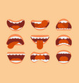 expressive cartoon human mouth with tongue and vector image vector image