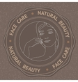 Face hand and text Face Care Natural Beauty vector image vector image
