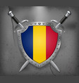flag of romania the shield with national flag vector image vector image