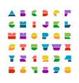 Flat colorful geometric shapes letters style font vector image vector image